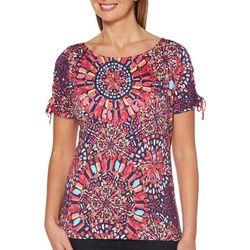 Rafaella Womens Embellished Kaleidoscope Tie Sleeve Top