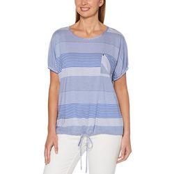 Rafaella Womens Mixed Stripes Tie Front Pocket Top