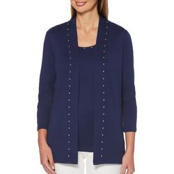 Rafaella Womens Studded Open Front Cardigan