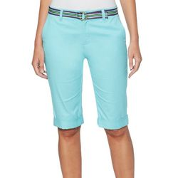 Rafaella Womens Solid Twill Belted Bermuda Shorts