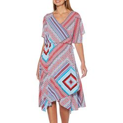 Rafaella Womens Geometric Patchwork Faux Wrap Dress
