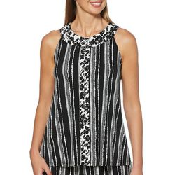 Rafaella Womens Mixed Floral Striped Sleeveless Top