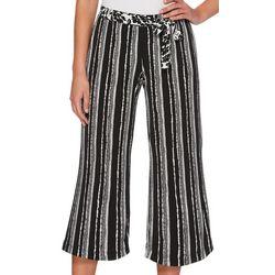 Rafaella Womens Floral Stripe Cropped Pants
