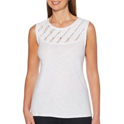 Rafaella Womens Solid Crochet Woven Yoke Tank Top
