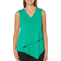 Rafaella Womens Solid Asymmetrical Hem Sleeveless Top