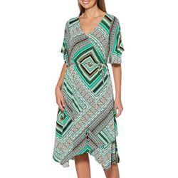 Rafaella Womens Bandana Print Wrap Dress