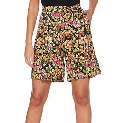 Rafaella Womens Lemon Hibiscus Print Tie Waist Shorts
