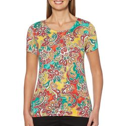 Rafaella Womens Embellished Paisley Floral Crisscross Top