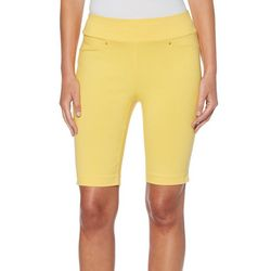 Rafaella Womens Solid Pull On Bermuda Shorts