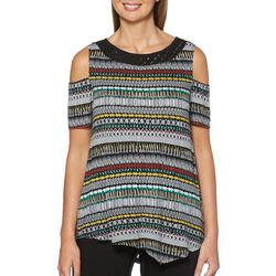Rafaella Womens Tribal Inspired Stripe Cold Shoulder Top