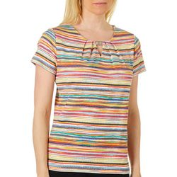 Rafaella Womens Mixed Stripe Keyhole Bar Short Sleeve Top