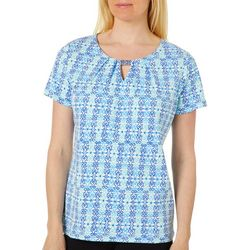 Rafaella Womens Geo Tile Keyhole Bar Short Sleeve Top