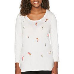 Rafaella Womens Embroidered Bird Top