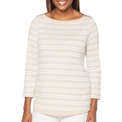 Rafaella Womens Mixed Stripe Button Shoulder Top