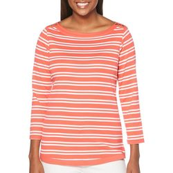 Rafaella Womens Mixed Stripe Button Shoulder Top