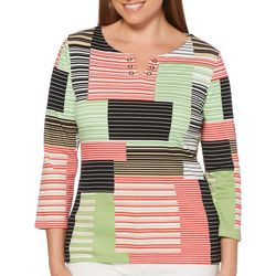 Rafaella Womens Patchwork Striped Grommet Neck Top
