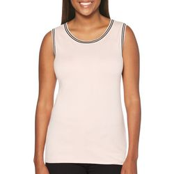 Rafaella Womens Striped Trim Shell Tank Top