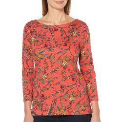 Rafaella Womens Embellished Floral Print Top