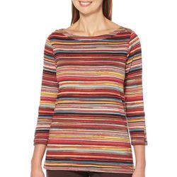 Rafaella Womens Embellished Skinny Stripe Print Top