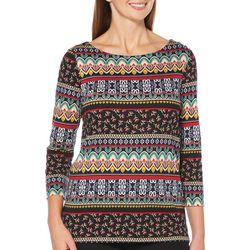 Rafaella Womens Embellished Mixed Stripe Print Top