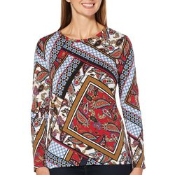 Rafaella Womens Geometric Patchwork Long Sleeve Top
