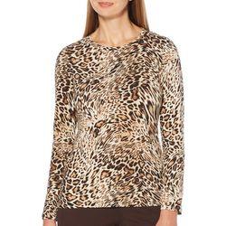 Rafaella Womens Leopard Print Round Neck Long Sleeve Top