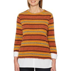 Rafaella Womens Striped Chenille Long Sleeve Sweater