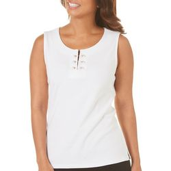 Rafaella Womens Solid Pearl Bar Sleeveless Top