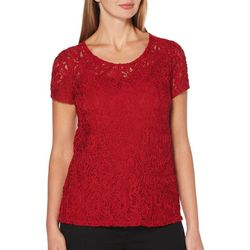 Rafaella Womens Solid Braided Lace Top