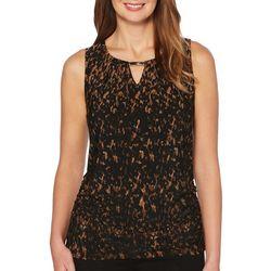 Rafaella Womens Ruched Leopard Print Keyhole Top