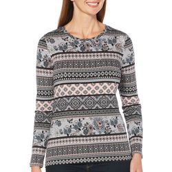 Rafaella Womens Mixed Geo Print Long Sleeve Top