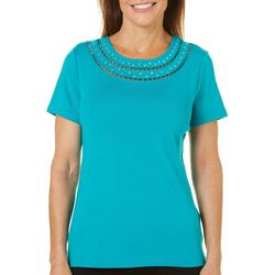 Rafaella Womens Solid Embellished Neck Top