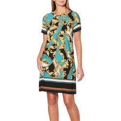 Rafaella Womens Scroll Print Shift Dress