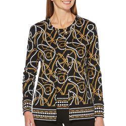 Rafaella Womens Chain Print Button Down Cardigan