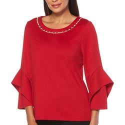 Rafaella Womens Solid Tiered Bell Sleeve Top