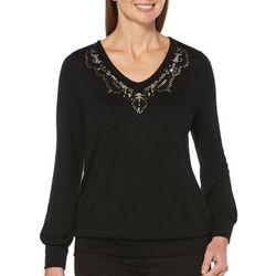 Rafaella Womens Embellished V-Neck Solid Long Sleeve Top