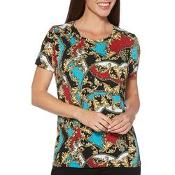 Rafaella Womens Embellished Leaf Print Top