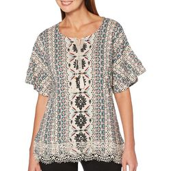 Rafaella Womens Ruffled Aztec Tassel Top