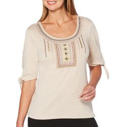 Rafaella Womens Embroidered Tie Sleeve Top