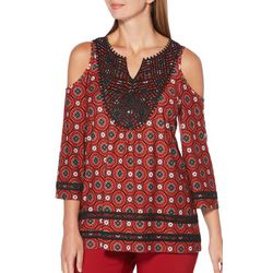 Rafaella Womens Crochet Medallion Cold Shoulder Top