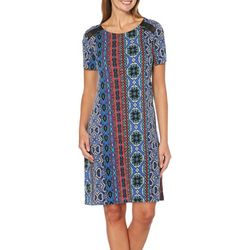 Rafaella Womens Mixed Geometric Print Shift Dress
