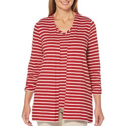 Rafaella Womens Striped Open Front Cardigan