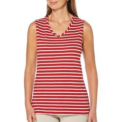 Rafaella Womens Striped V-Neck Shell Tank Top