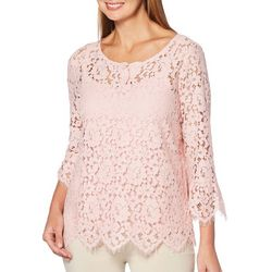 Rafaella Womens Floral Lace Overlay Top