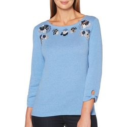 Rafaella Womens Embellished Floral Knot Sleeve Top