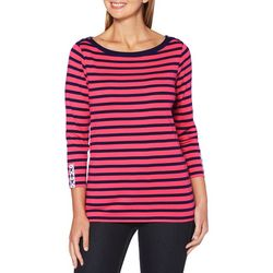 Rafaella Womens Stripe Button Accented Top