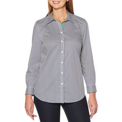 Rafaella Womens Pin Striped Button Down Top