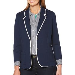Rafaella Womens Piped Button Down Blazer
