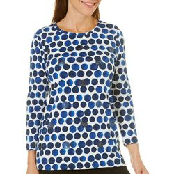Rafaella Womens Embellished Mixed Dot Top