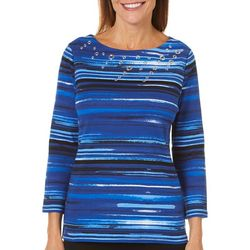Rafaella Womens Painted Stripe Grommet Neck Top